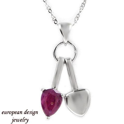 1.30ctw Genuine Ruby Sterling Silver Necklace