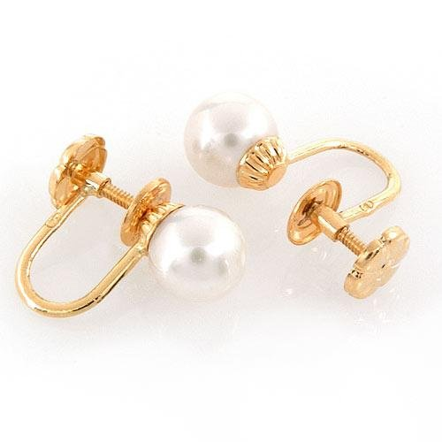 14k Gold 7 mm White Pearl Screwback Earrings
