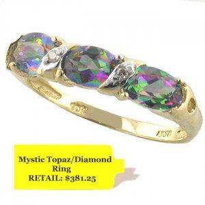 10K Gold 1.8ctw Mystic Topaz And Diamond Ring Size 7