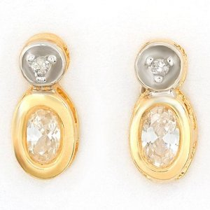 10k Gold Genuine Diamond And Cubic Zirconia Earrings