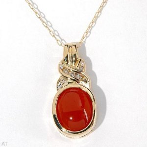 10K Gold Genuine 2.05ctw Agate and Diamond Necklace