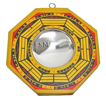 "Concave Bagua Mirror~4"" Wooden Handpainted"
