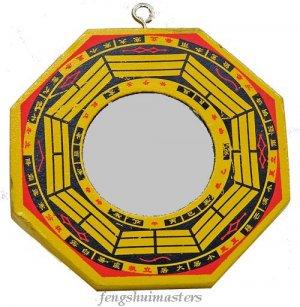 "Flat / True Glass Bagua Mirror~4"" Wooden Handpainted (A)"