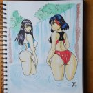 Ryuko Matoi and Satsuki Kiryuin Bathing Beauties Drawing (OOAK)