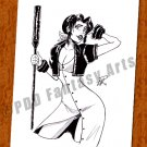 Aerith Aeris Gainsborough Final Fantasy 8 x 10 Original Ink Drawing (OOAK)