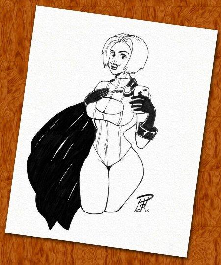 Power Girl Sexy Selfie Original Ink Drawing (OOAK)