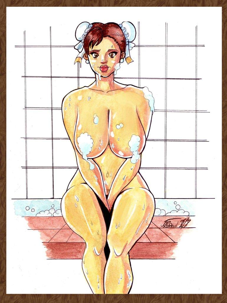 "50% OFF SALE Chun Li Bath Nude Watercolor/Ink Drawing (OOAK) 9"" x 12"""