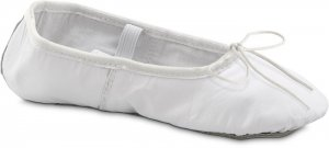 Premium Leather Ballet Slipper (Full Sole) Toddler 7.5 WHITE