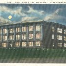 High School by Moonlight in Harrisonburg, Virginia Vintage Postcard