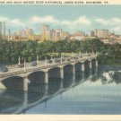 Skyline and Mayo Bridge over the James River in Richmond, Virginia Vintage Postcard