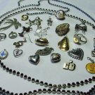 Junk Drawer Jewelry Parts Lot, Charms and Rhinestone Strings