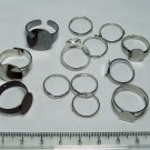 Lot of Adjustable Rings with Flat Cabochon Settings