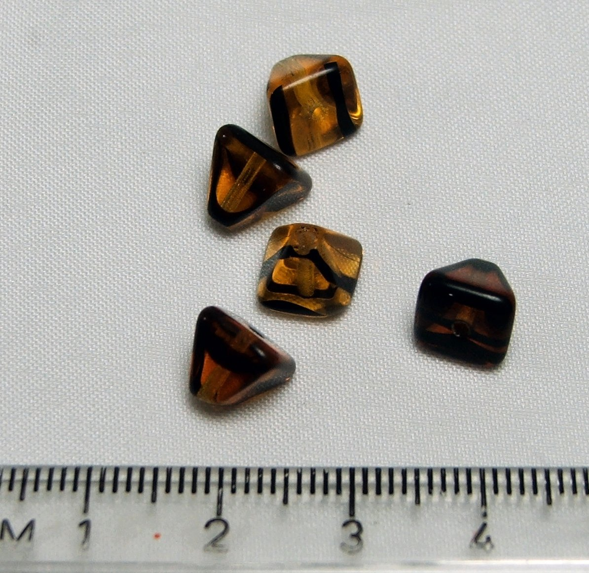 Czech Pressed Glass Amber Pyramid Shaped Beads Lot