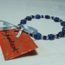 Blue Daisy Pressed Glass Bead Bracelet