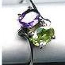 Genuine 0.75 ct Oval cut Amethyst & Peridot 925 Sterling Silver Ring