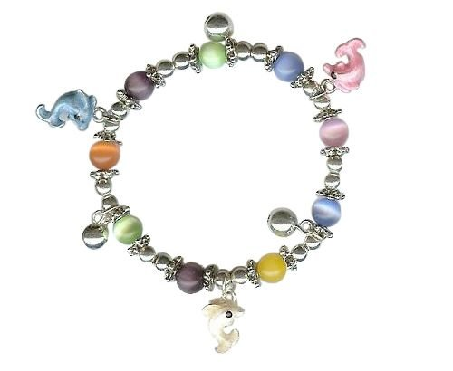 Rhodium Color Plating Colored Beads & Dolphin Charm Bracelet