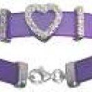 18K White Gold Plated Sterling Heart Rubber Bracelet HOT SELLER