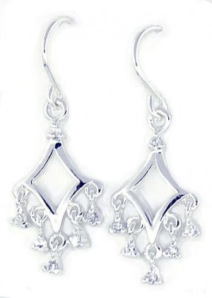 .10ct Diamond CZ Sterling Silver Dangle Earrings