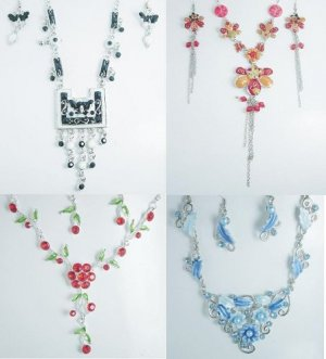 350 Sets of Color Stone Studded Fashion Earrings-Necklace Set LIQUIDATION