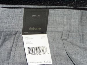 Claiborne Gray Pin Stripe Dress Slacks 34x30