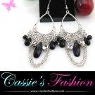 Black rhinestone chain drop