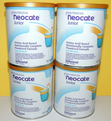 4 - 14.1oz cans NEOCATE JUNIOR UNFLAVORED by NUTRICIA - NEW  $114.50