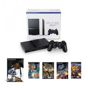 "Slim Sony Playstation 2 System ""Rap Bundle"" - Get On the Mic (with Microphone) and 4 demos"
