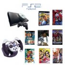 Slim Sony Playstation 2 &quot;Anime Bundle&quot; - 3 Games, 5 Movies, 1 Wheel and more