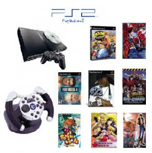 "Slim Sony Playstation 2 ""Anime Bundle"" - 3 Games, 5 Movies, 1 Wheel and more"