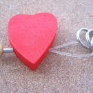 NEW WOOD HEART KEYCHAIN KEY RING CHAIN LEGNOMAGIA ITALY