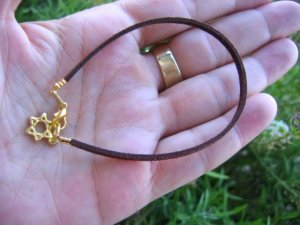 Brown Bracelet String golden  Star of David Kabbalah