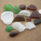 14 GENUINE BEACH SEA GLASS BOTTLE BOTTOMS RIM NECK