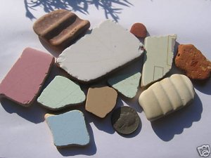 11 CERAMIC POTTERY MOSAICS BEACH SEA GLASS RK
