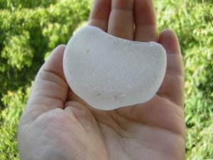BIG Genuine Sea Beach Glass WHITE Bottle Bottom ISRAEL