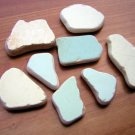 8 BEACH SEA GLASS CERAMIC POTTERY MOSAIC YELLOW GREEN