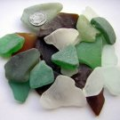 24 Genuine Sea Beach Glass MIX white green aqua blue