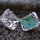 Genuine Beach Sea Glass CUBE LOCKET CAGE Pendant