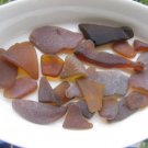 24 Genuine Beach Sea Glass BROWN AMBER Crafts Mosaic zi