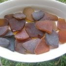 24 Genuine Beach Sea Glass BROWN AMBER Crafts Mosaic zy