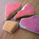 4 BEACH SEA GLASS CERAMIC POTTERY MOSAIC RED ORANGE