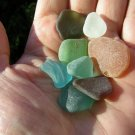 8 Genuine Sea Beach Glass MIX white green aqua blue