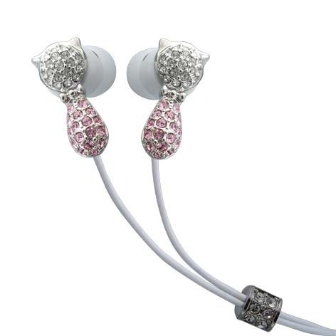 Cat Pink Crystals Stainless Steel Jewelry Earphones Earbuds + iPhone Adapter