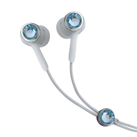 Blue Color Crystal Stainless Steel Jewelry Earphones Earbuds + iPhone Adapter