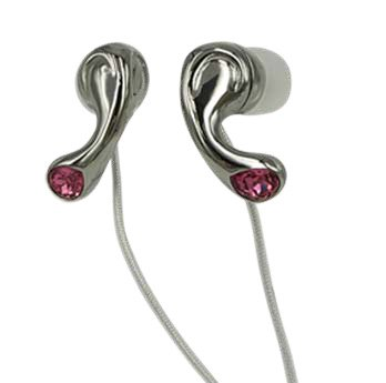 Elegant Pink Crystal Stainless Steel Jewelry Earphones Earbuds + iPhone Adapter