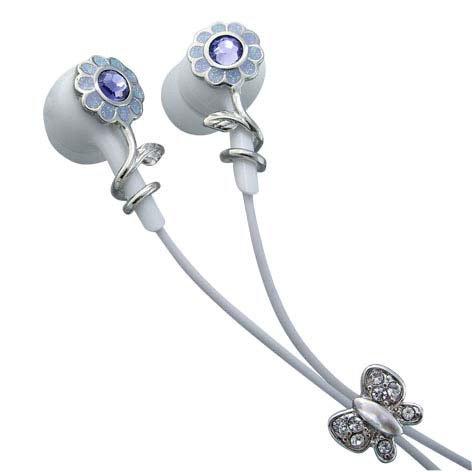 Purple Flowers Single Purple Crystals Stainless Steel Jewelry Earbuds Earphones + iPhone Adapter