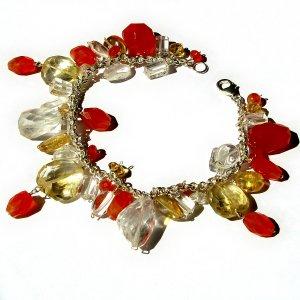 Bracelet 7in handmade carnelian gold topaz natural crystal semi precious stone beads 925 silver