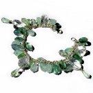 Bracelet 7in handmade 925 silver aquamarine jade fluorite natural crystal semi precious stone beads