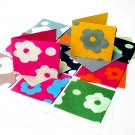 Green gift 6 greeting cards thank you birthday handmade flower paper recycled cotton 5x5 1/2