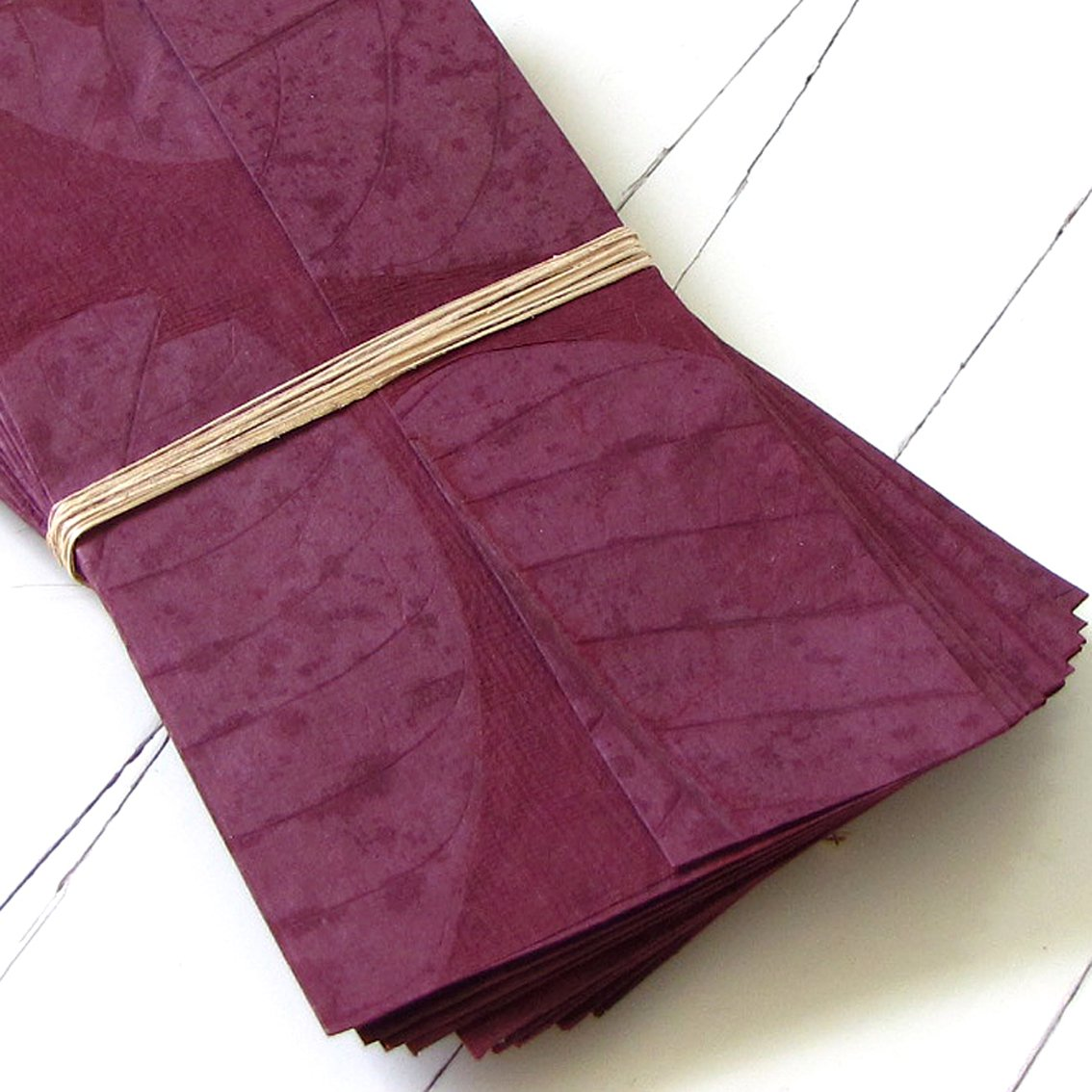 Handmade paper stationery eco friendly tree free leaf imprint paper dark plum and lavender