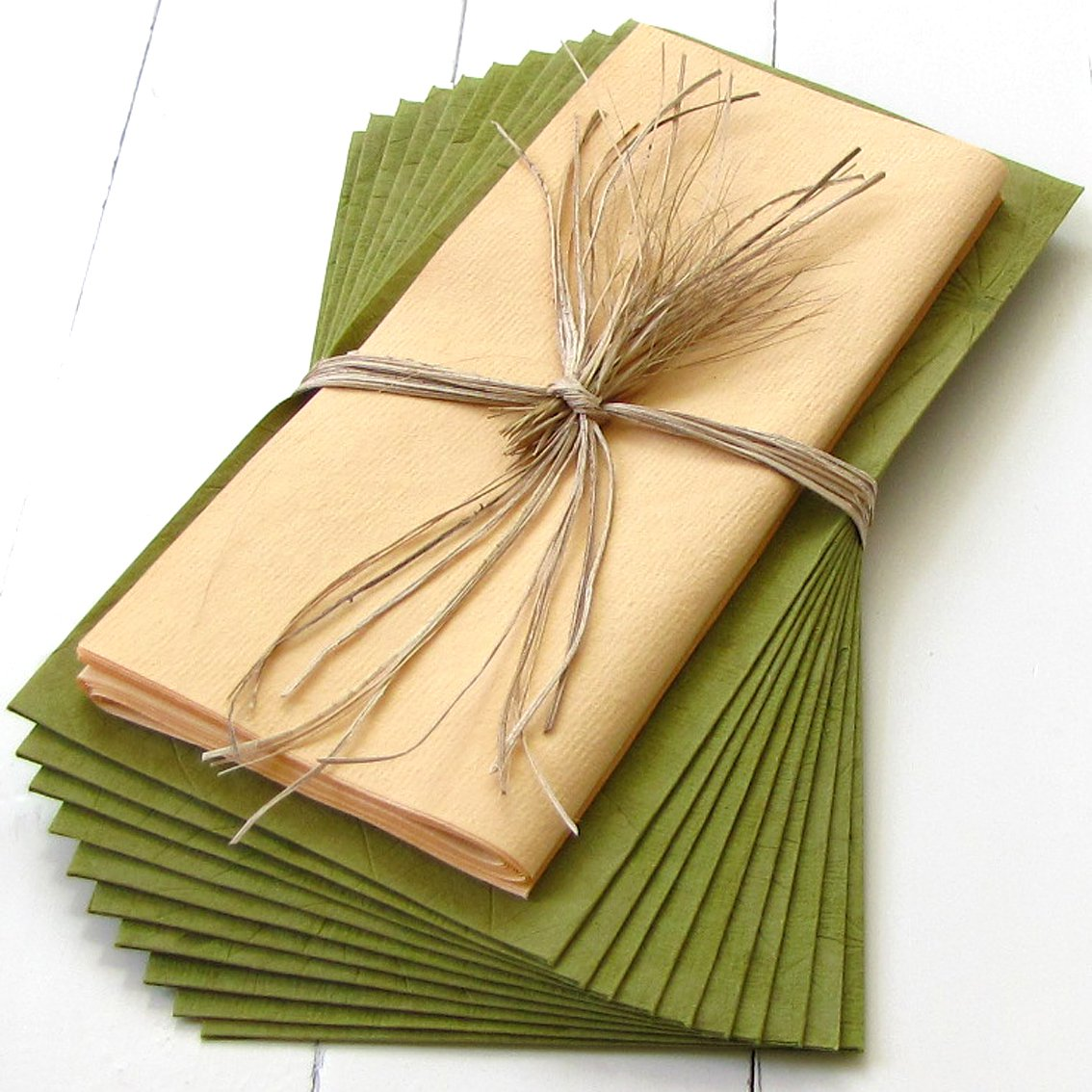 Handmade paper stationery set10 tree free green bday mom xmas gifts gift olive green bday mom xmas gifts and cream